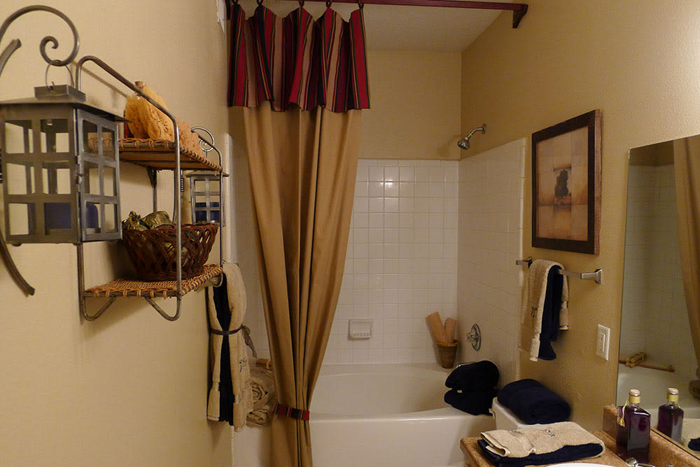 Model apartment bathroom at Lodge at West Oaks
