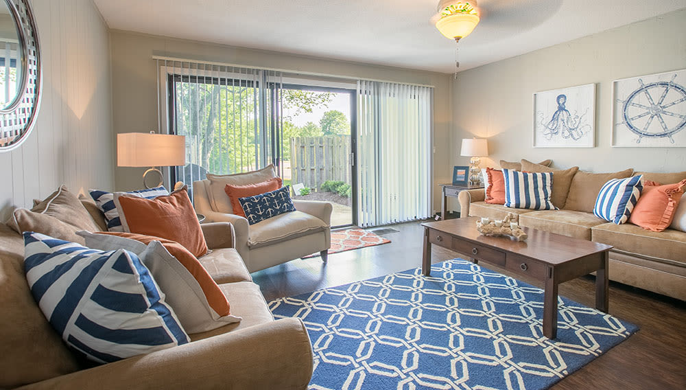 Living room at Whitewood Apartments