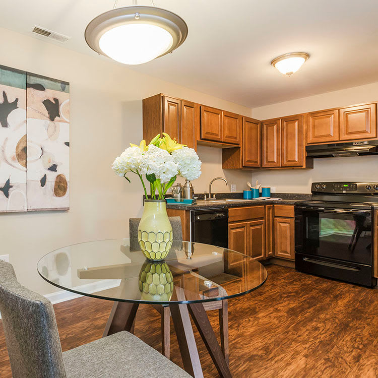 Modern kitchen in model apartment home at The Lakes at 8201 in Merrillville, IN