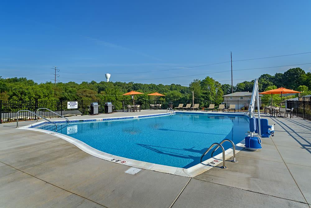 Beautiful swimming pool at The Kane at Gray's Landing in Aliquippa, Pennsylvania