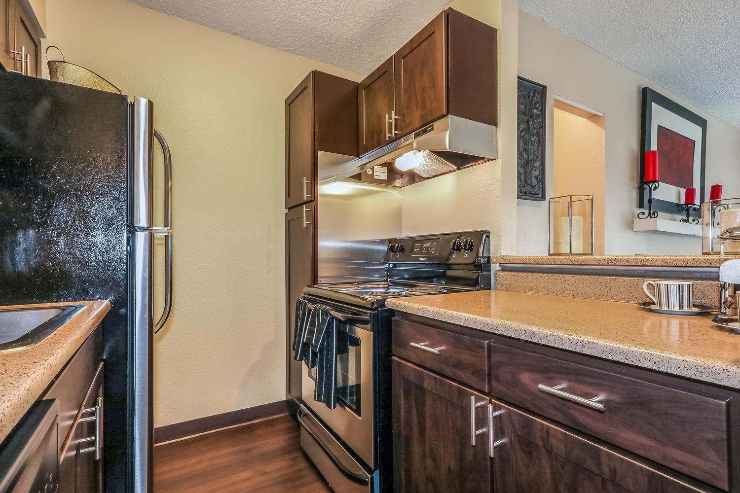 Kitchen at City Center Station Apartments in Aurora