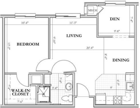 E - 1 Bed + Den