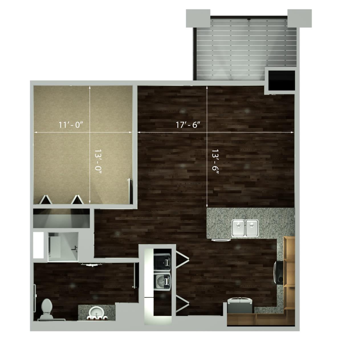 One Bedroom   756 Sq Ft. Plaza One Bedroom Floor Plan