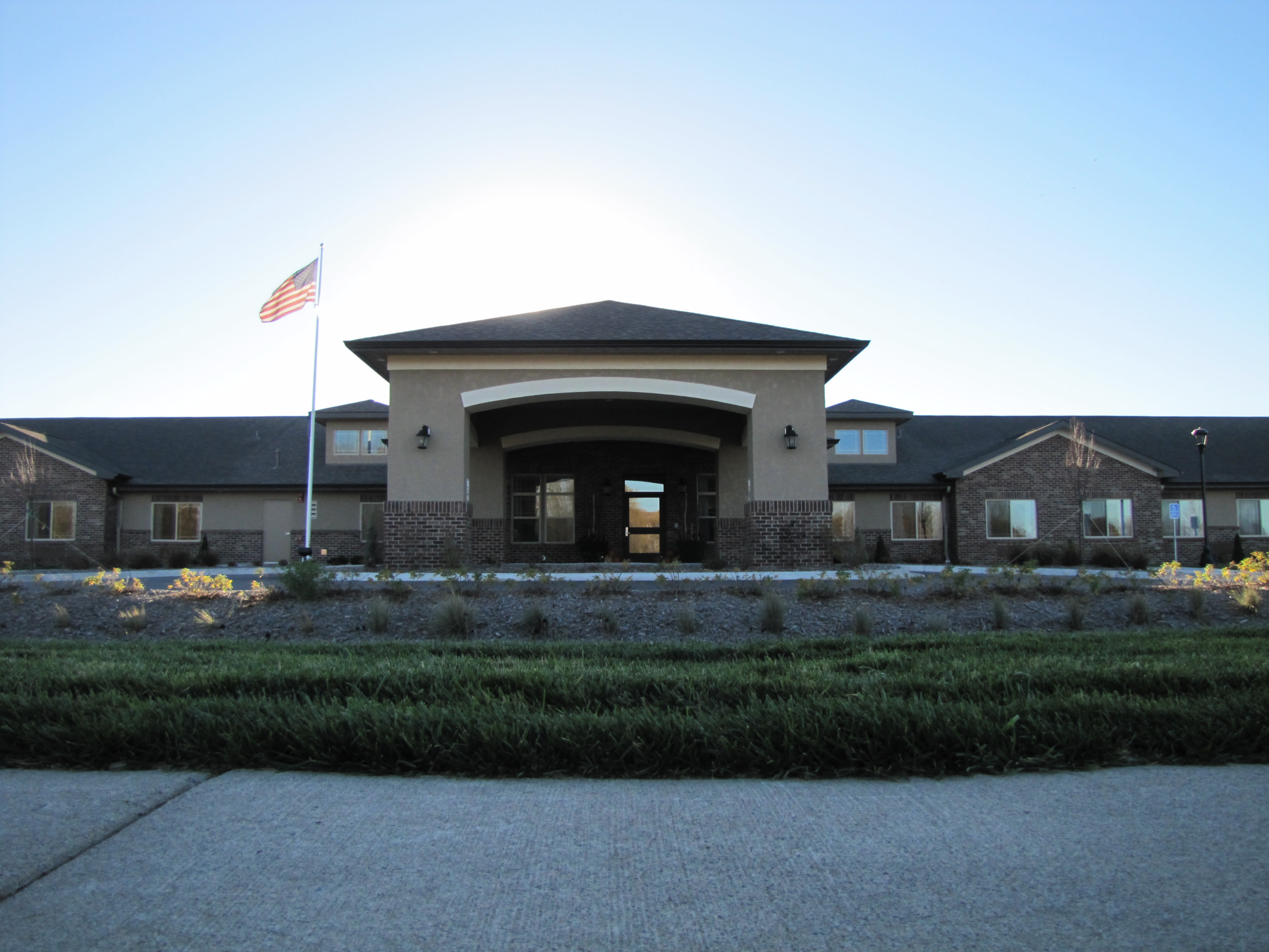 Enjoy the beautiful front view of Edgemont Place Alzheimer's Special Care Center apartments