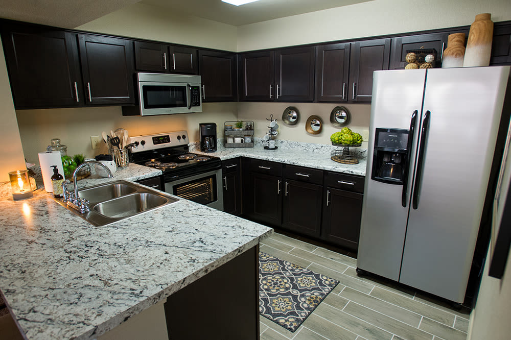 Another angle of our kitchens in our apartments in Hewitt, TX