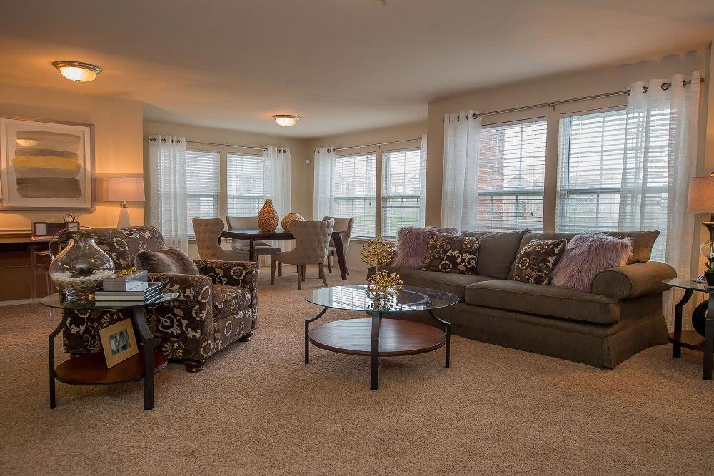 Spacious living room at Park at Westpointe