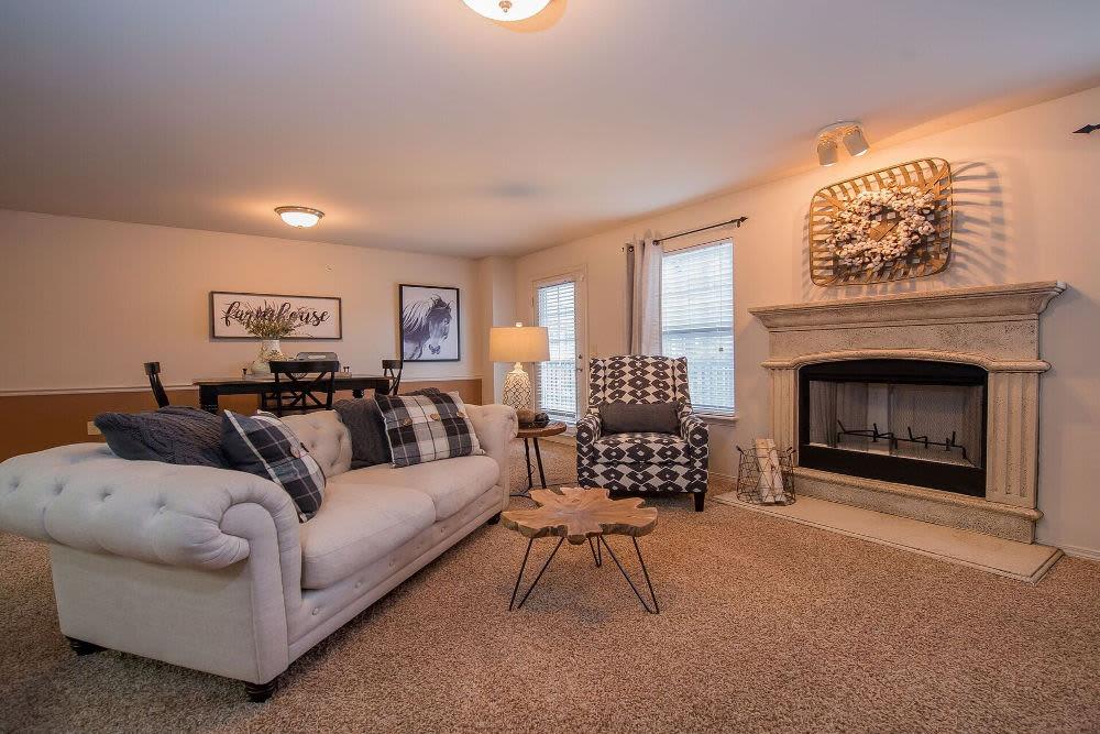 Beautiful living room at Park at Westpointe in Yukon, Oklahoma