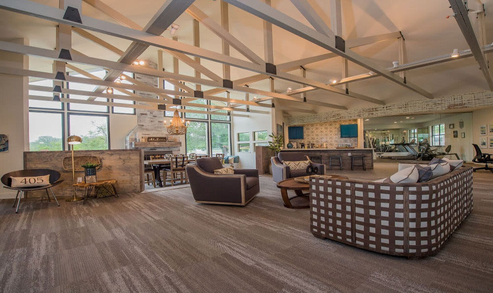 Spacious living room at Waters Edge in Oklahoma City