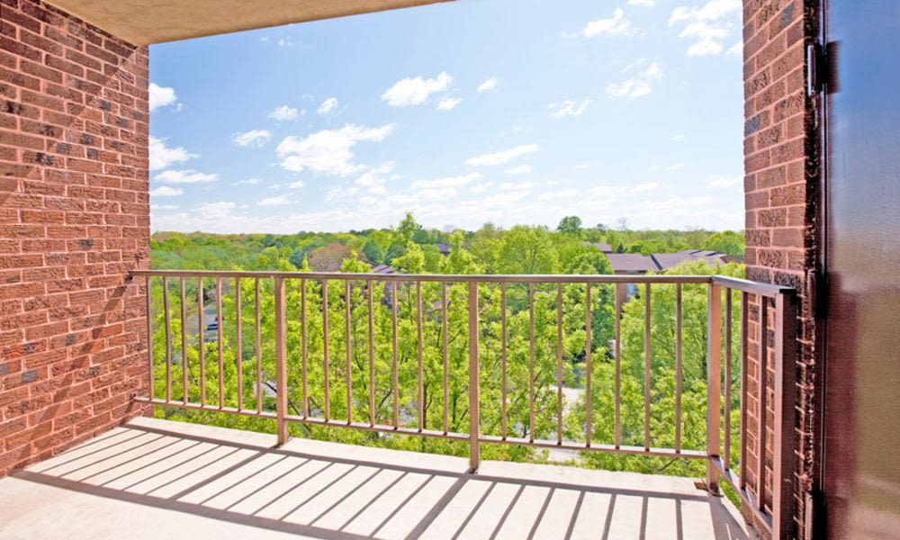 Spacious private balcony at Columbia Pointe Apartment Homes in Columbia, MD
