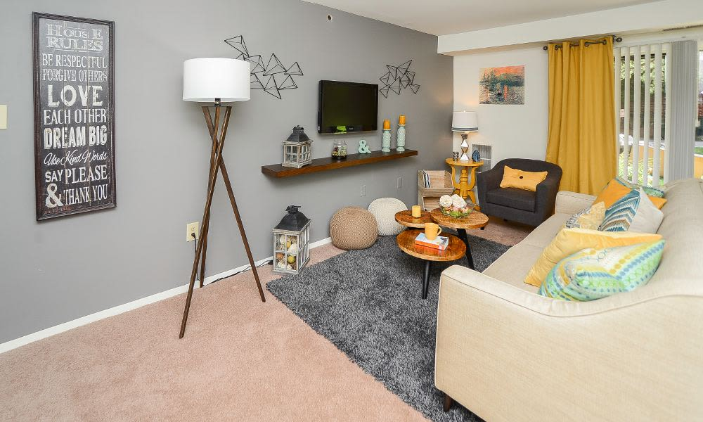 Enjoy a beautiful living room at Columbia Pointe Apartment Homes