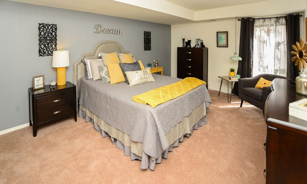 Luxury bedroom at Columbia Pointe Apartment Homes in Columbia, MD