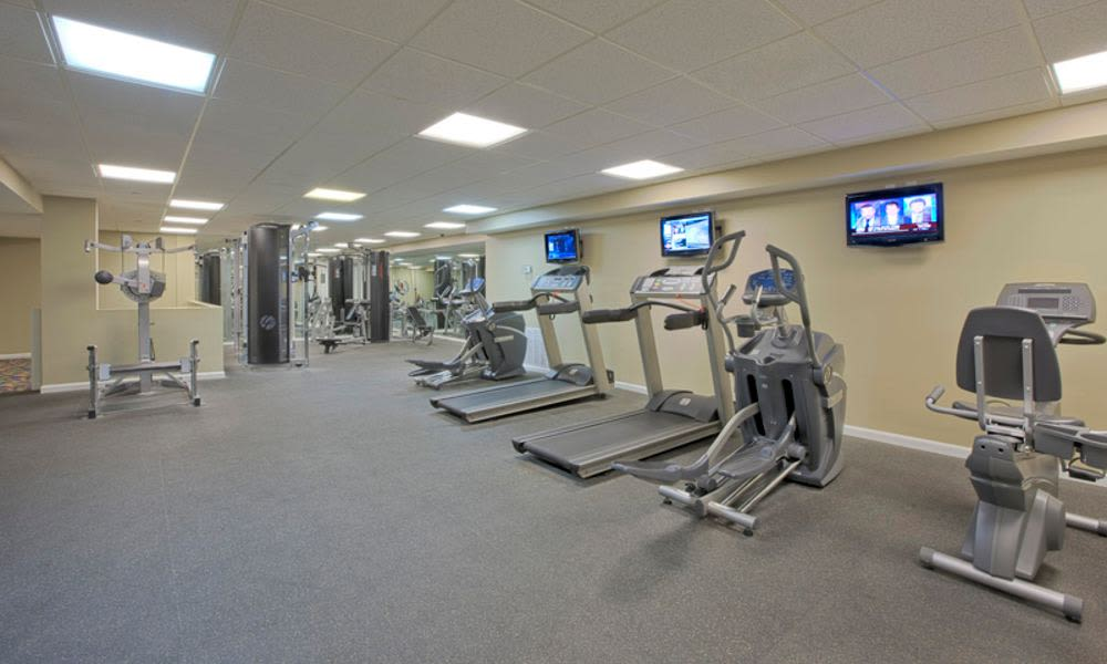 Spacious fitness center at Columbia Pointe Apartment Homes in Columbia, MD