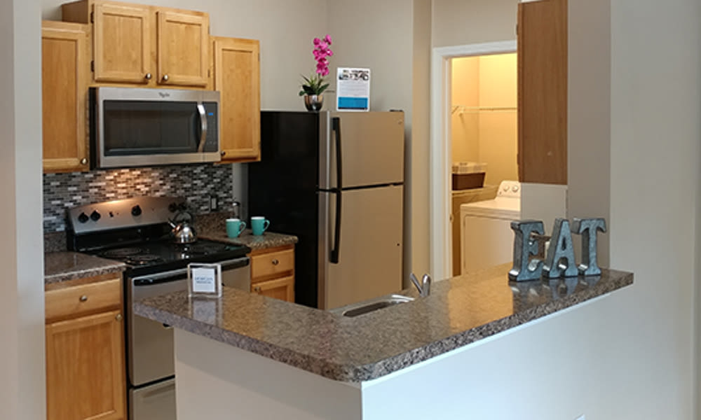 Modern kitchen at Heather Park Apartment Homes in Garner, NC