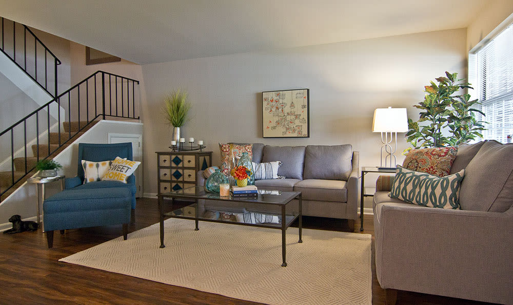 Modern living room at The Reserve at Copper Chase in York, Pennsylvania