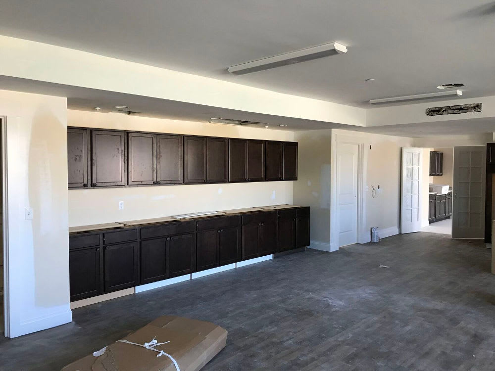 Kitchen construction progress at The Enclave Senior Living at Saxony in Fishers