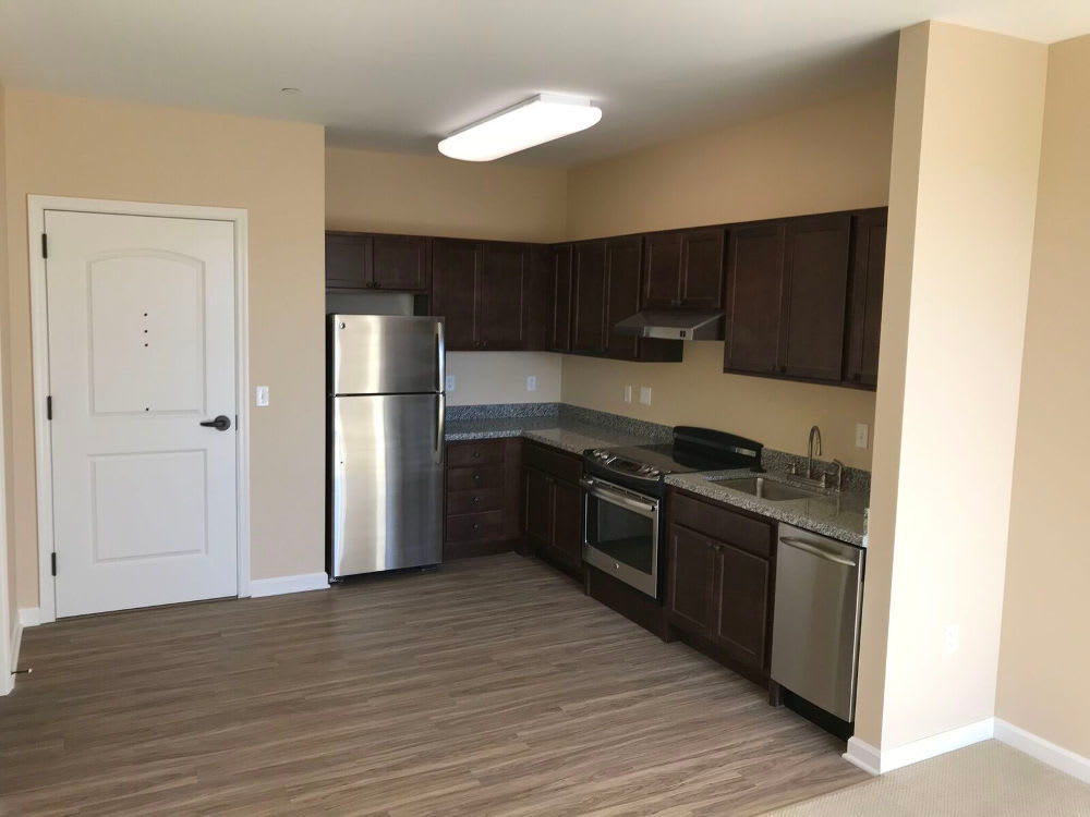 The Enclave Senior Living at Saxony offers a beautiful kitchen in Fishers, Indiana