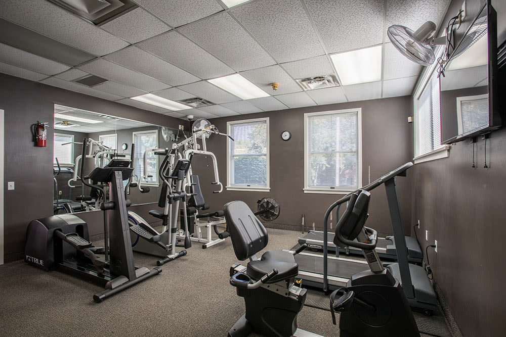 Beautiful fitness center at Perinton Manor Apartments in Fairport, NY
