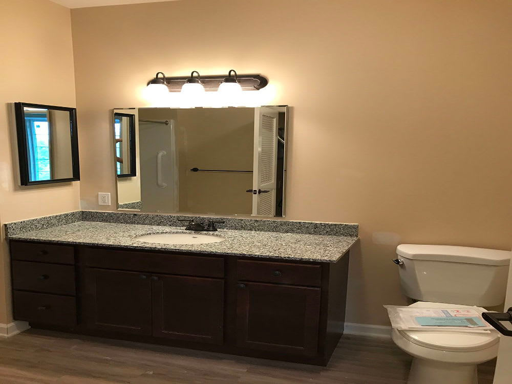 Renovated bathroom at The Enclave Senior Living at Saxony in Fishers, Indiana