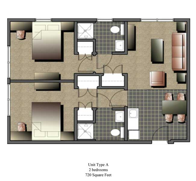 Two bedroom, 720 SQ FT