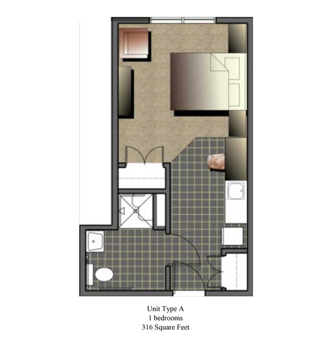One bedroom, 316 SQ FT