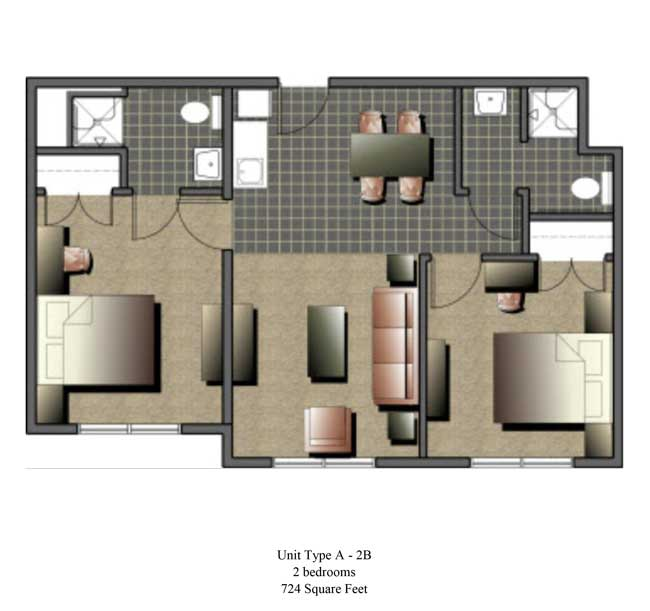 Two bedroom, 724 SQ FT