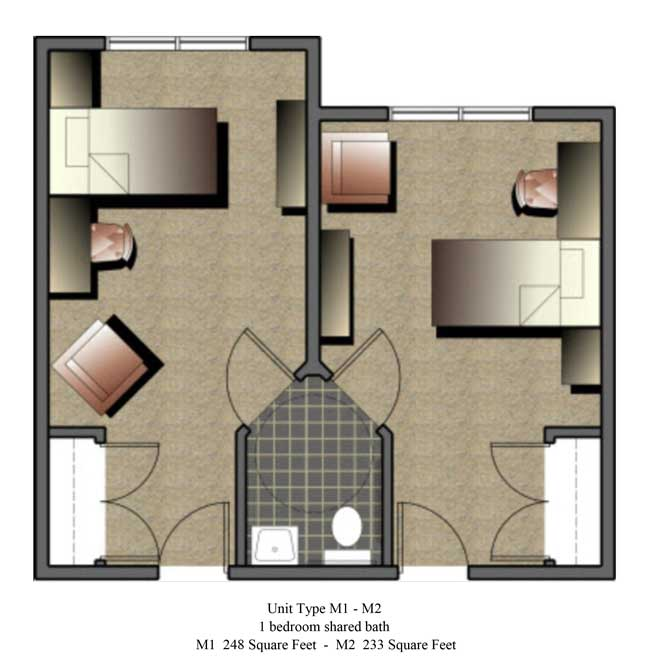 Two bedroom, 233 - 248 SQ FT