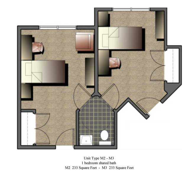Two bedroom, 233 SQ FT