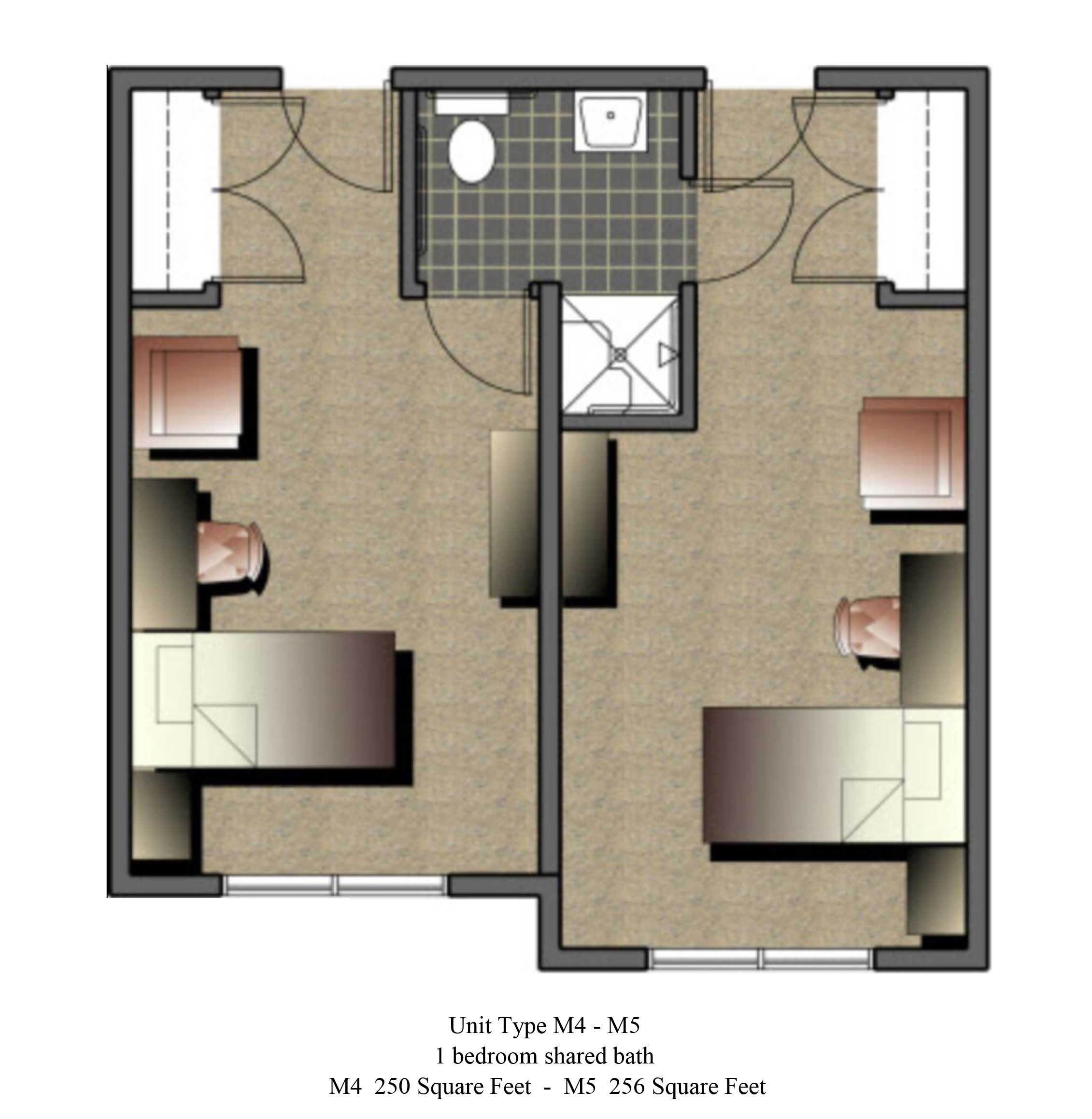 Two bedroom, 250 - 256 SQ FT
