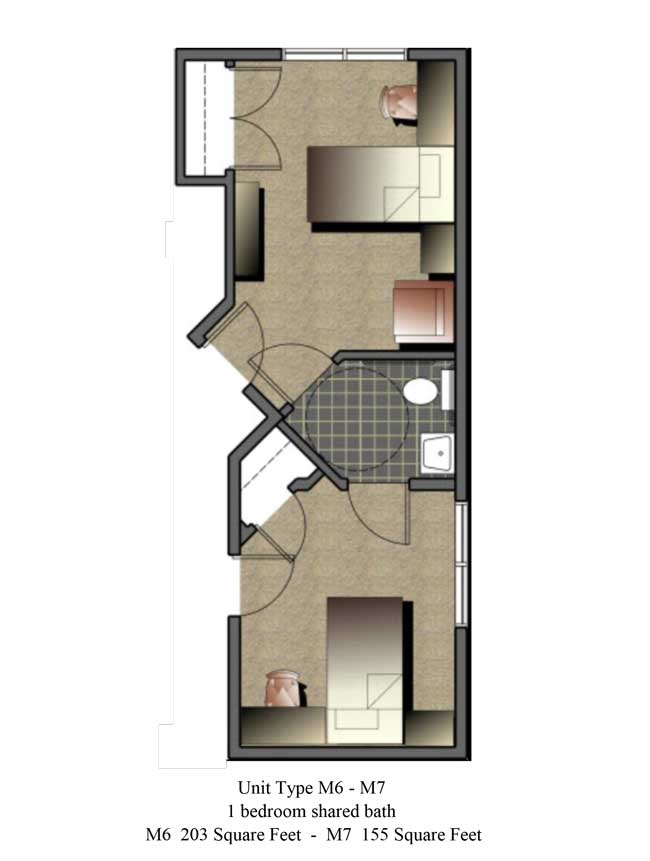 Two bedroom, 155 - 203 SQ FT