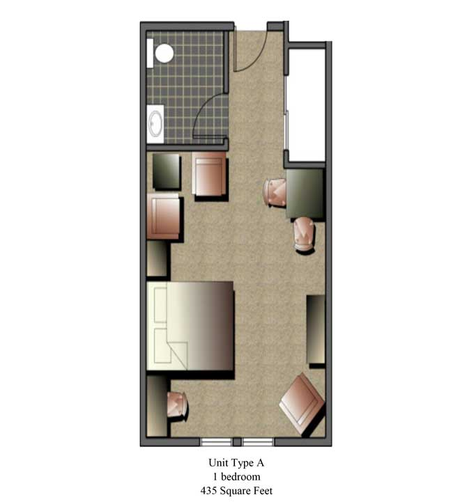 One bedroom, 345 SQ FT
