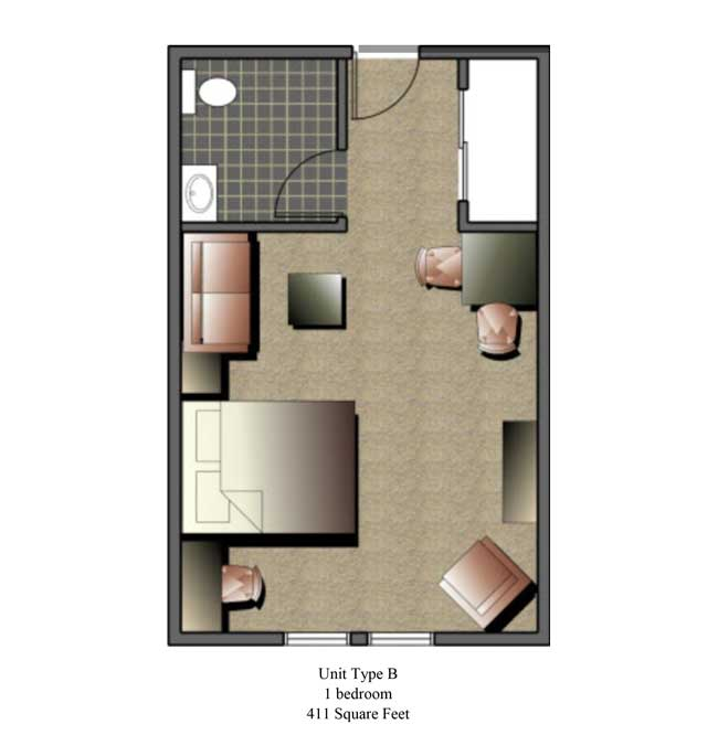 One bedroom, 411 SQ FT