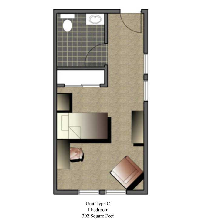 One bedroom, 302 SQ FT