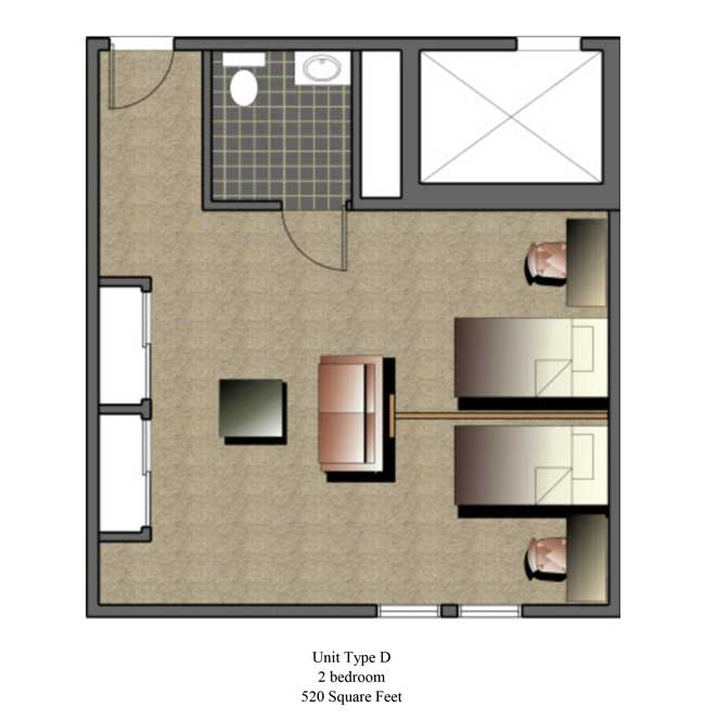 Two bedroom, 520 SQ FT