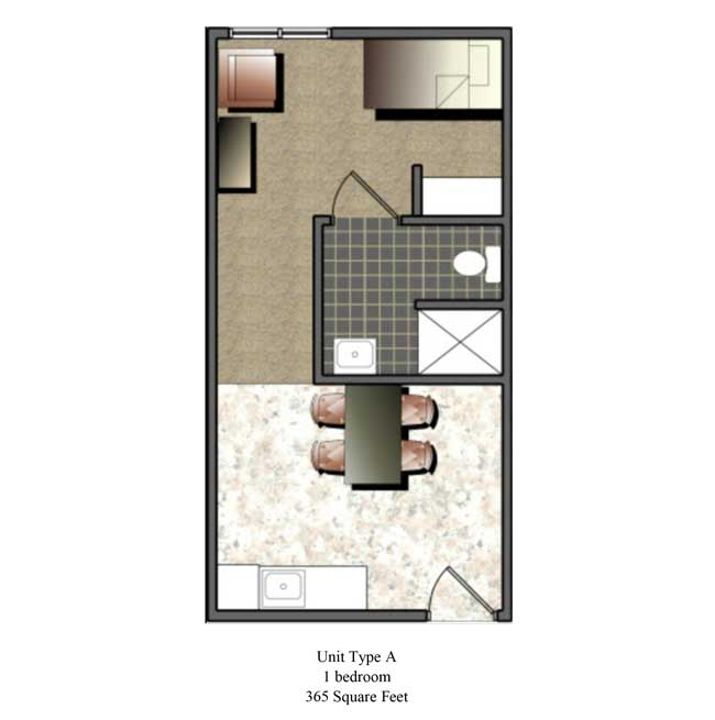 One bedroom, 365 SQ FT