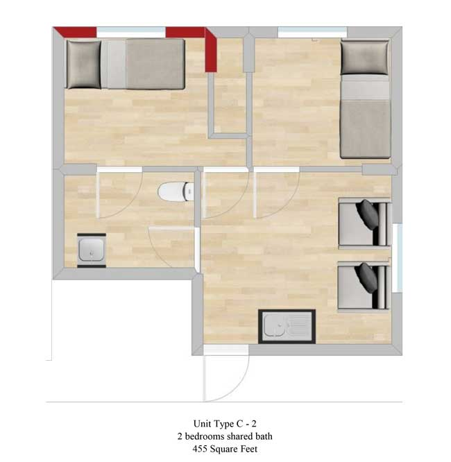 Two bedroom, 455 SQ FT