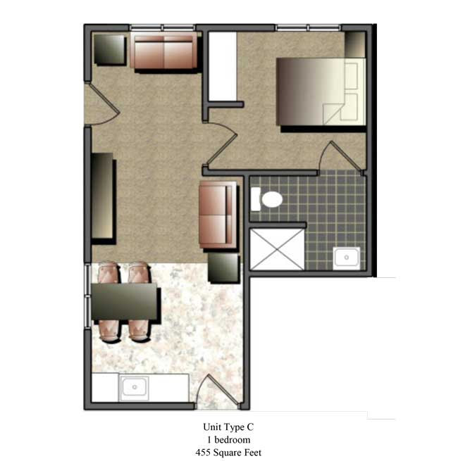 One bedroom, 455 SQ FT