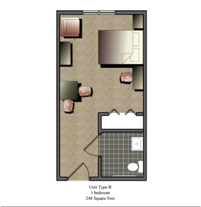 One bedroom, 248 SQ FT