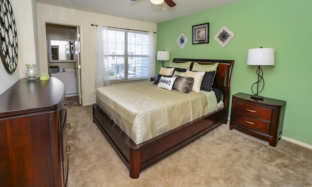 Luxury bedroom at Fox Run Apartments & Townhomes in Bear, DE