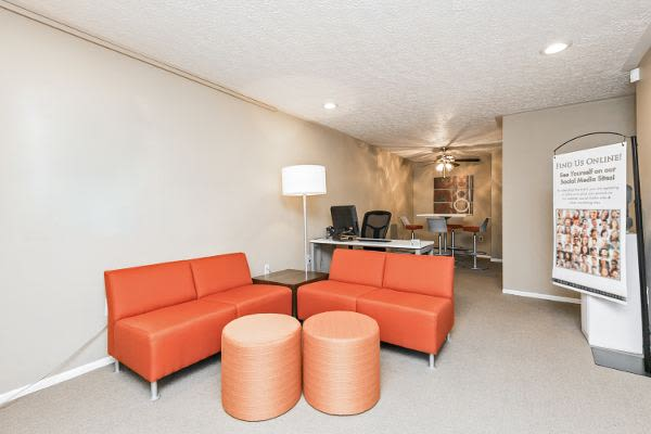 Modern living room at Lincoln Park Apartments & Townhomes in West Lawn, PA