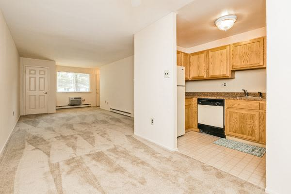 Spacious living room and kitchen at Lincoln Park Apartments & Townhomes in West Lawn, PA