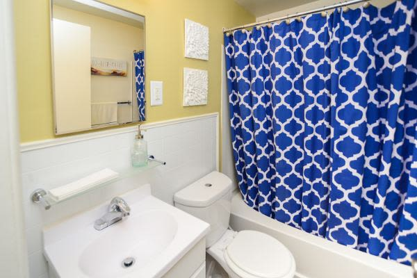 Renovated bathroom at Wedgewood Hills Apartment Homes in Harrisburg, PA