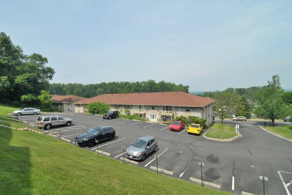 Spacious parking area at Whitestone Village Apartment Homes in Allentown, PA
