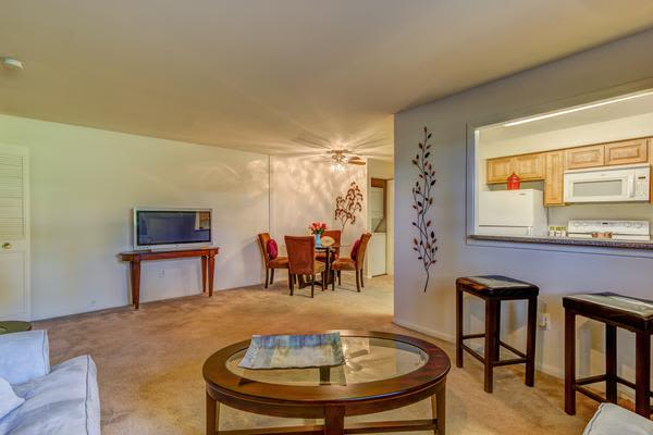 Spacious living room at Woodacres Apartment Homes in Claymont, DE