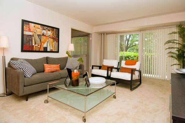 Spacious living room at Brookdale at Mark Center Apartment Homes in Alexandria, VA