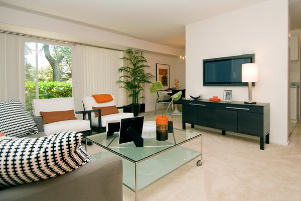 Luxury living room at Brookdale at Mark Center Apartment Homes in Alexandria, VA