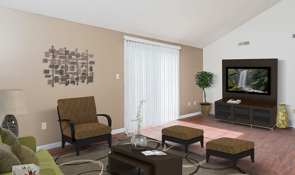 Spacious living room at Maplewood Estates Apartments in Hamburg, NY