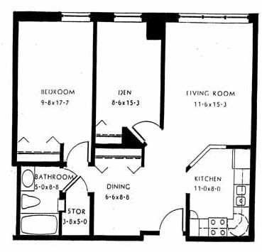 One bedroom, 830 SQ FT