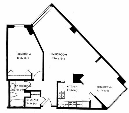 One bedroom, 982 SQ FT