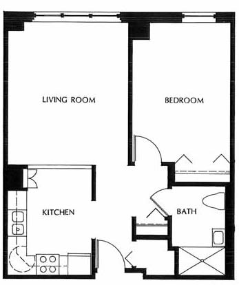 One bedroom, Unit A-HC