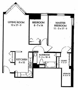 Two bedroom, 969 SQ FT